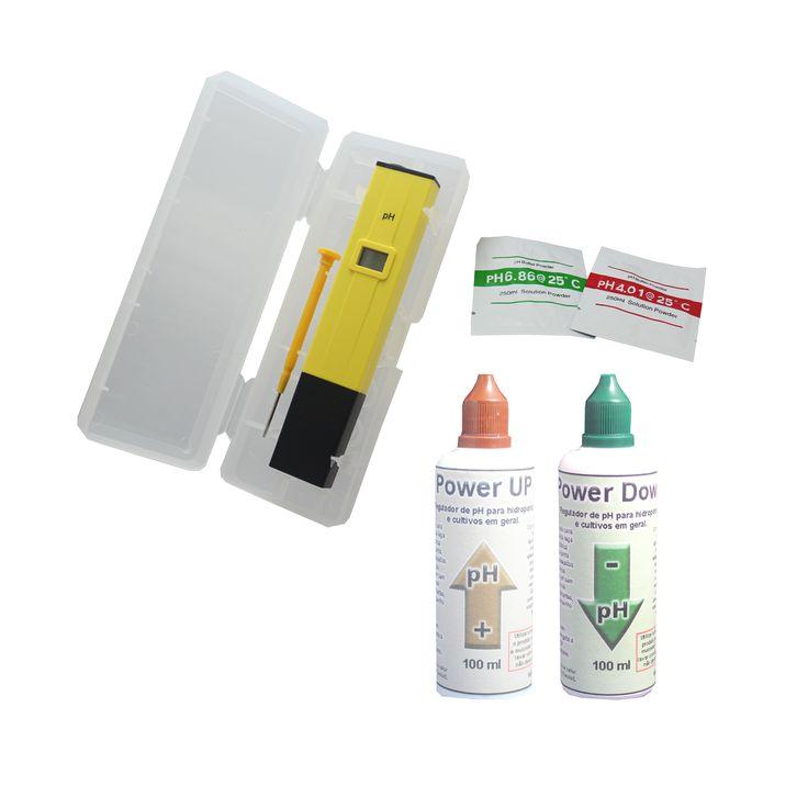 Kit Medidor pH + Sachês Calibração + Reguladores 100ml