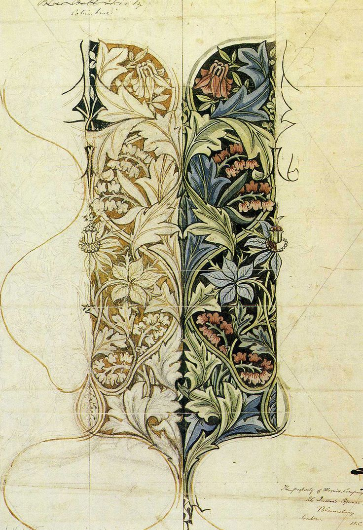 William Morris, Floral Design, Sketch