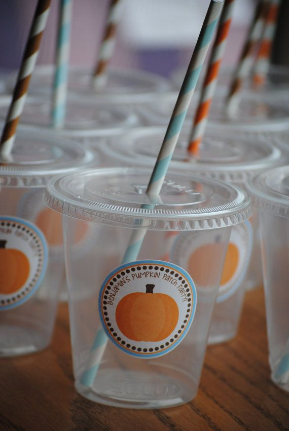 12 Pumpkin Patch Party Cups with lids and straws by mlf465 on Etsy, $11.75