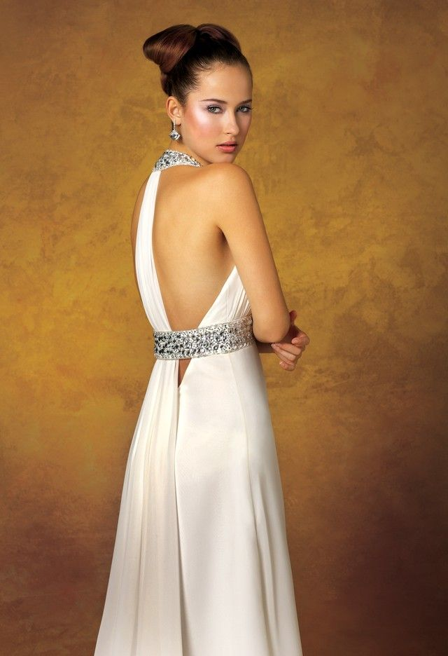 Wedding Dresses - Chiffon Wedding Dress with Jeweled Collar from Camille La Vie and Group USA