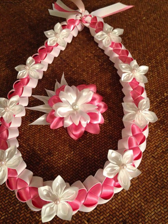 Pink and White Ribbon Lei and matching flower by LovelyLeisNSeis