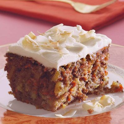Carrot cake!   from Delish.com  This looks very moist!  Nothing worse then a dry piece of carrot cake..