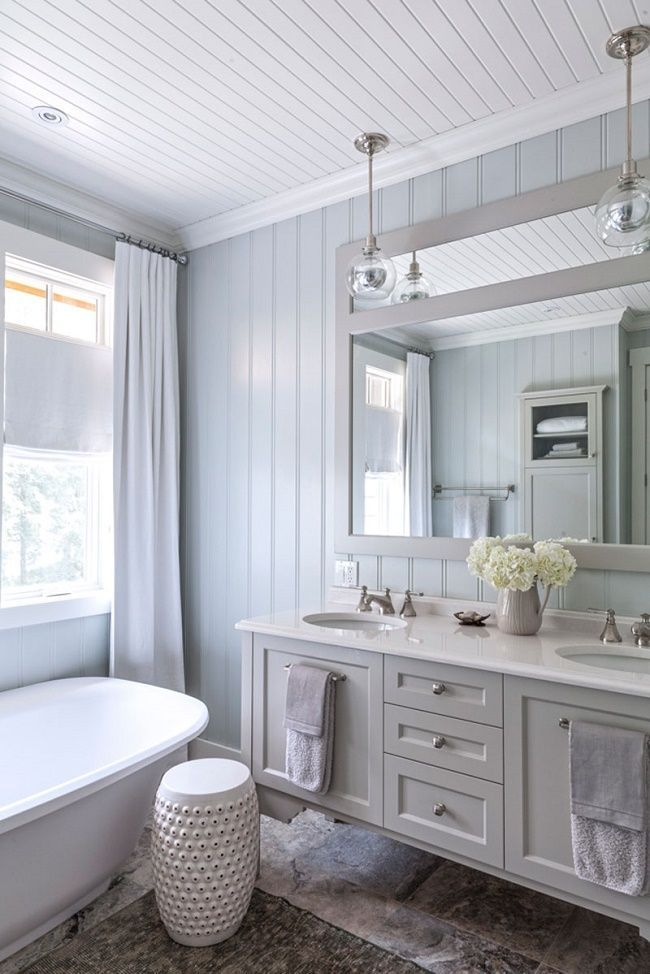 Shiplap paneling with pendant lighting in bathroom | designer - Natalie Chong