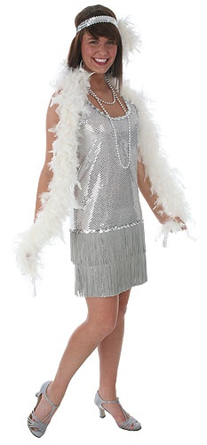 Silver Sequin and Fringe Flapper Costume
