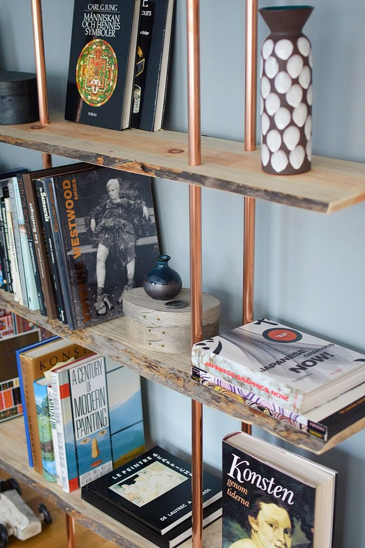reclaimed wood projects, copper tubing projects, book shelves.