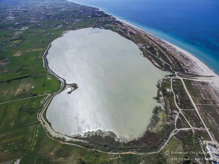 Tingaki salt lake, Kos island, Greece