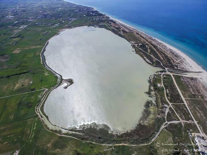 Tingaki salt lake, Kos island, Greece