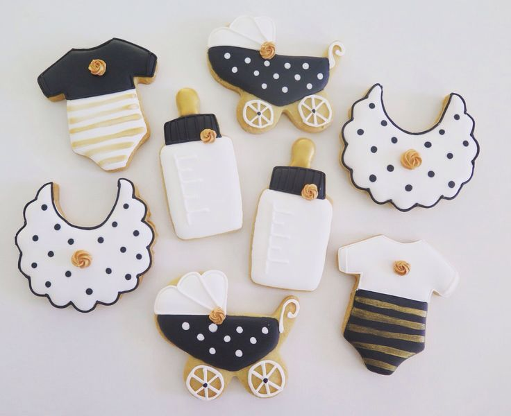 Baby shower cookies, love the black white and gold.