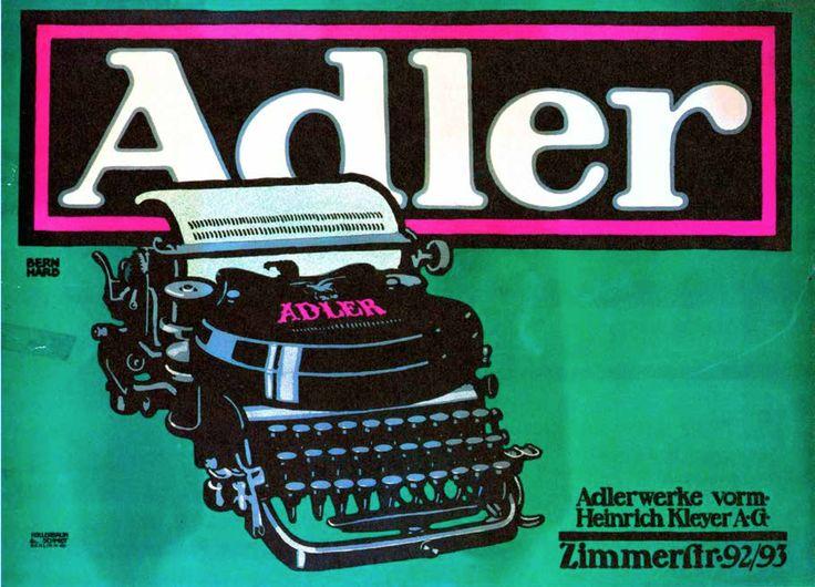 Adler Typewriter (1909–10) Lucian Bernhard (1883-1972) En esta imagen se puede ver el color que llama mucho la atención. El posicionamiento en la imagen de la maquina de escribir la cual es el producto nos hace verla de primeras al realizar la lectura de la imagen y ya que es una afiche publicitario funciona perfectamente