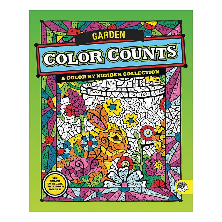 color by number color counts gardens - Color By Number Books