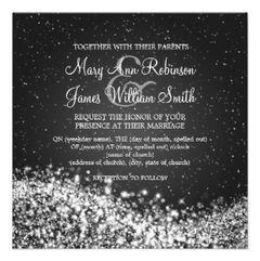 Elegant Winter Wedding Invitations http://www.zazzle.com/5_25_elegant_wedding_sparkling_wave_black_invitation-161859753114033093?rf=238727595646208223