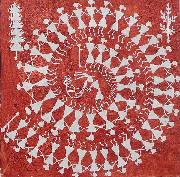 TARPA DANCE ORIGINAL WARLI PAINTING- Indian Tribal Art Folk Dance traditions
