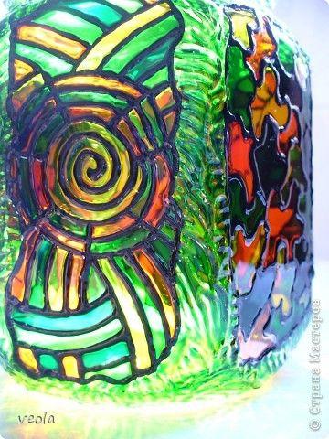 Декор предметов Витраж банки-склянки Банки стеклянные Стекло фото 8