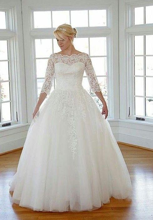 Elegante Weiß Brautkleider Große Größe Lang Ärmel Spitze Übergröße Hochzeitskleider Günstig_Brautkleider,Abiballkleider,Abendkleider