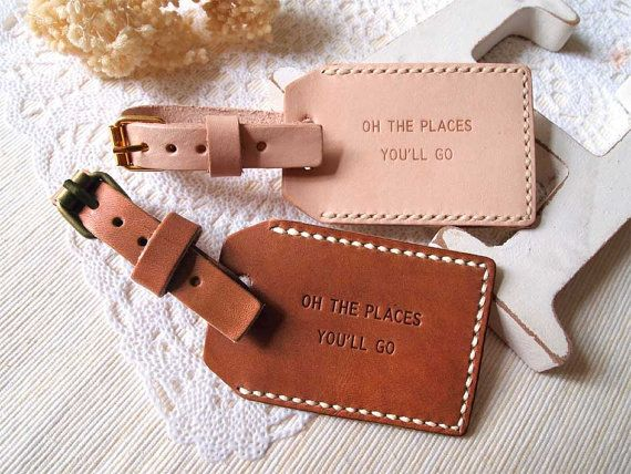 Personalized Luggage Tags Wedding Gift: Personalized Hand Stitched Leather Luggage Tag With Back
