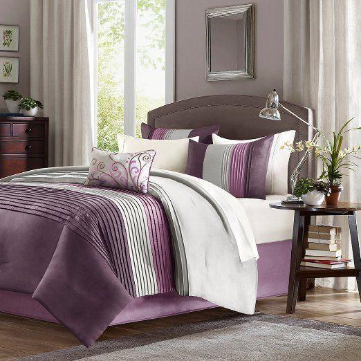 Amazon.com - Home Essence Belleview 5-Piece Comforter Set, Queen, Purple - Purple Comforter Set