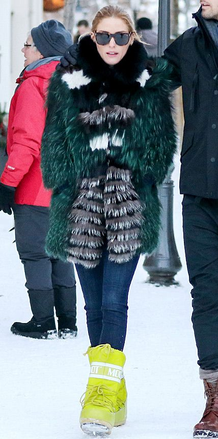 Look of the Day - January 2, 2015 - Olivia Palermo in Tenica Moon Boots from #InStyle