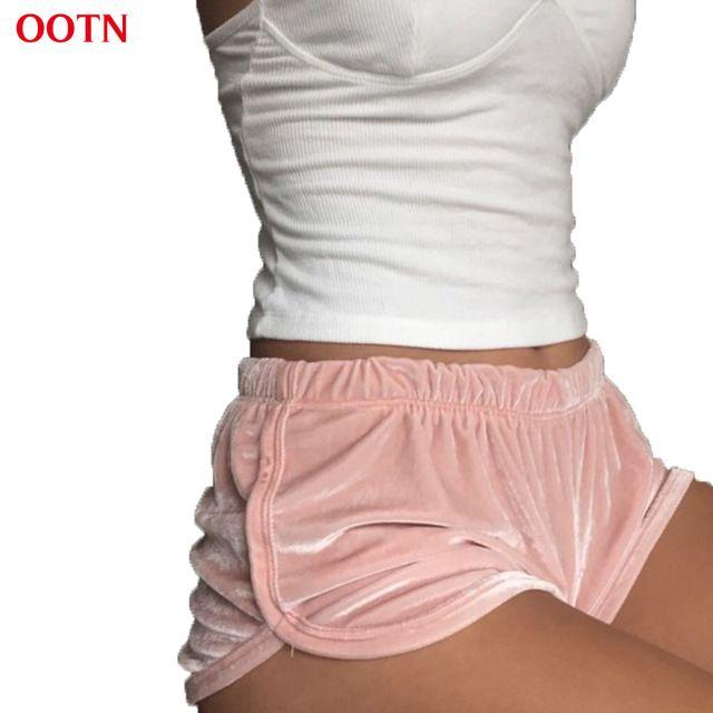 OOTN DK003 мягкий бархат высокой упругой шорты женщин фитнес одежды румяна розовый фланель повседневная тренировки мини трусики одежда