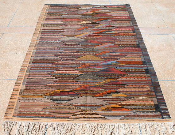 Gestreifter Teppich Rauten Streifen Muster, Gestreifter Kelim Teppich Blau Braun Beige Flachgewebe Teppich Flach gewebt 150 x 250 Webteppich