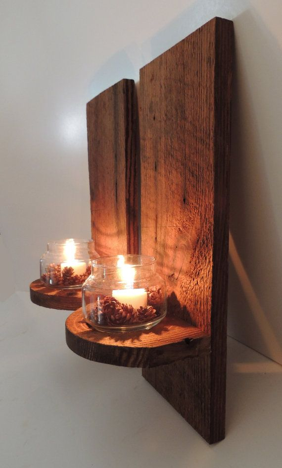 Pair Of Reclaimed Barn Wood Sconces By Freestatecrates On