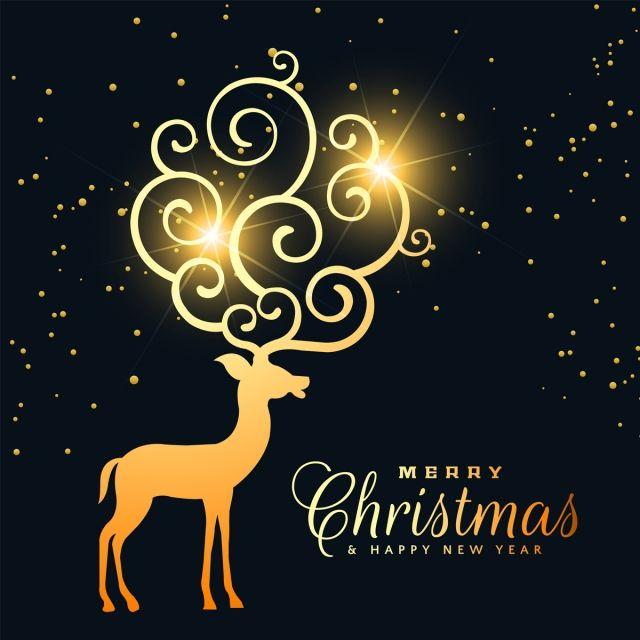 Renos De Navidad Dorado Brillante Diseno De Tarjeta Grafico Vectorial Y Imagen Png Carteles De Navidad Disenos De Tarjetas De Navidad Disenos De Tarjetas
