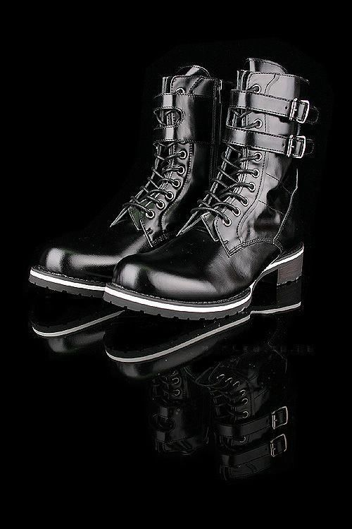 British style Korean men's military boots fashion leather shoes new Black