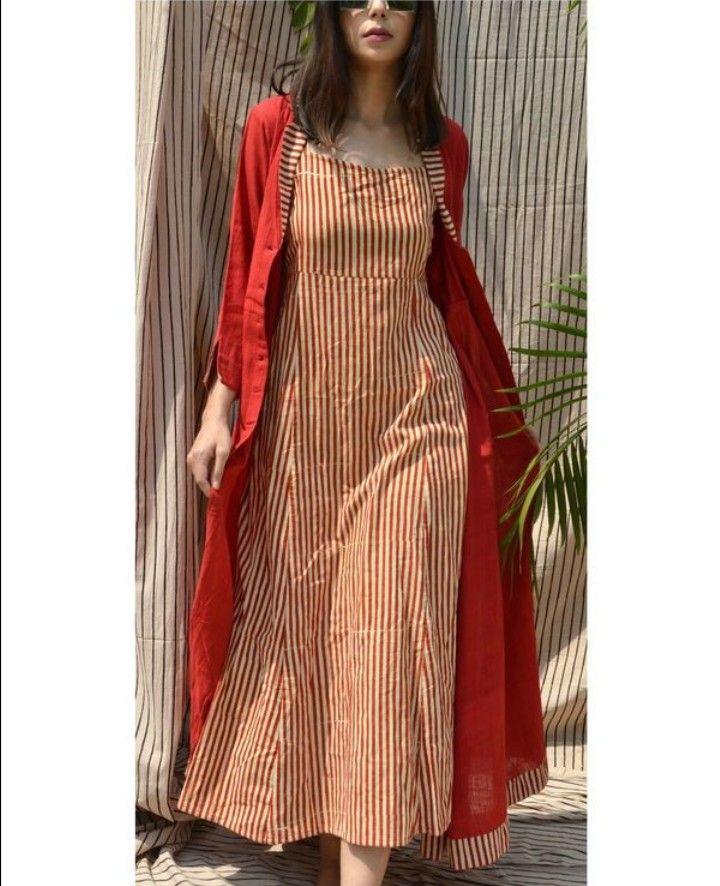 3fe53d92caec Beautiful Red khadi jacwitj stripes kurti. | Jackets and Blouses in ...