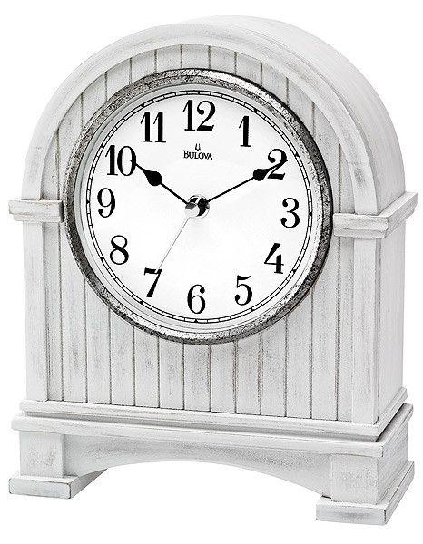 Bulova Pembroke Mantel Clock - White Wood and Antique Nickel Finish