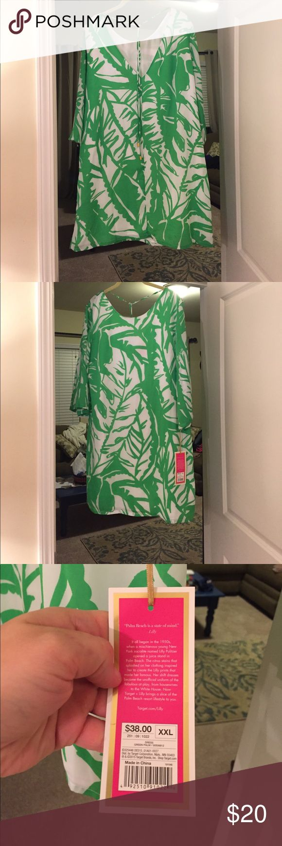 TFL palmetto dress XXL V back dress with tie that is so elegant! Would be great for a sorority formal/function! Didn't work for me but definitely would for you! Never worn. Recently purchased from board! Great condition! Lilly Pulitzer for Target Dresses
