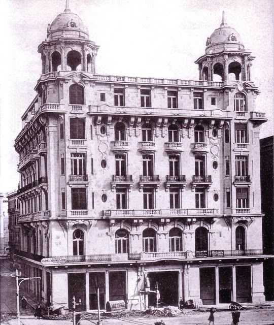 Hotel Majestic 1910 designed by Henry Gorra an egyptian architect #vintage #egypt #architecture فندق ماجستيك حوالي عام  1910  Italy in Alexandria: Influences on the Built Environment من كتاب د. محمد عوض