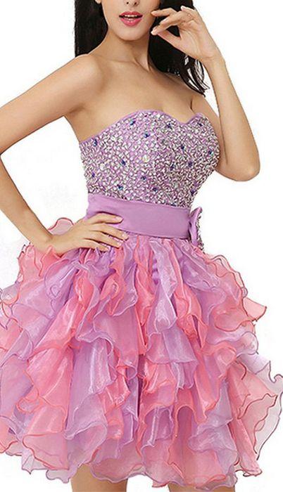 #pink #organza #tulle #short #shortpromdress #homecomingdress #cocktaildresses…