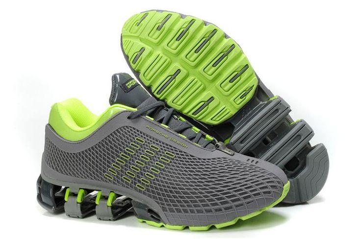 Hombre GRIS verde Top diseño cuero zapatillas adidas bounce