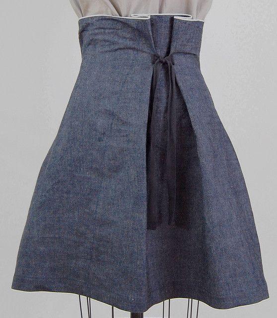 https://flic.kr/p/4vQXcC | denim tie skirt | slightly stiff denim to hold a bell shape, raw selvage edge at waist.