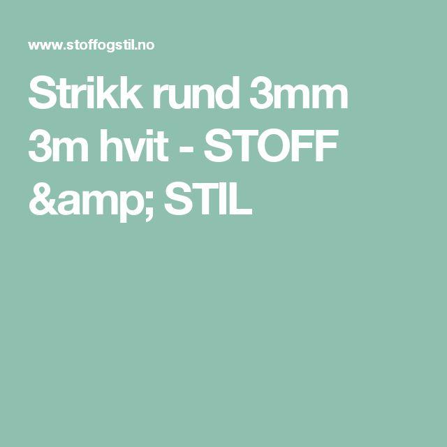 Strikk rund 3mm 3m hvit - STOFF & STIL