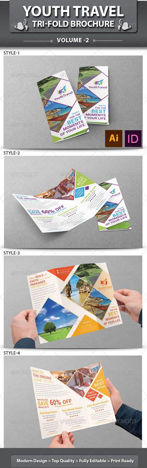Travel Business Tri-fold Brochure | Volume 3  #GraphicRiver I love the diamond concept!