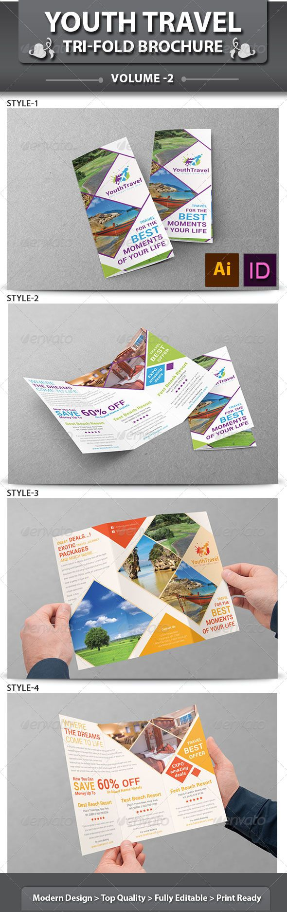 Travel Business Tri-fold Brochure   Volume 3  #GraphicRiver I love the diamond concept!