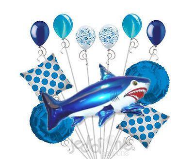 11 pc Blue Wild Tiger Shark Balloon Bouquet Party Decoration Fish Ocean Sea