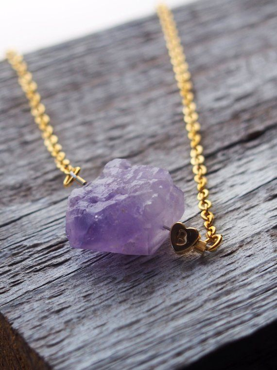 Womens Gift  Handmade Druzy Necklace Purple Amethyst and Gold Personalized Initials