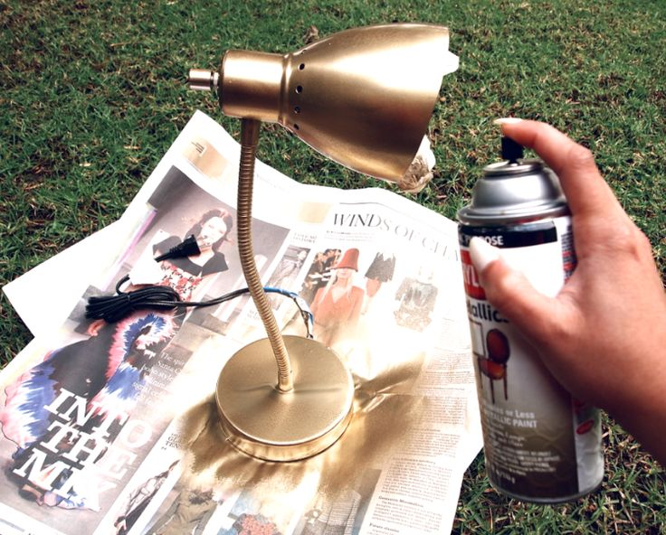 DIY: Metallic Gold Desk Lamp... Thinking of doing this in teal to go with the different shades in the study