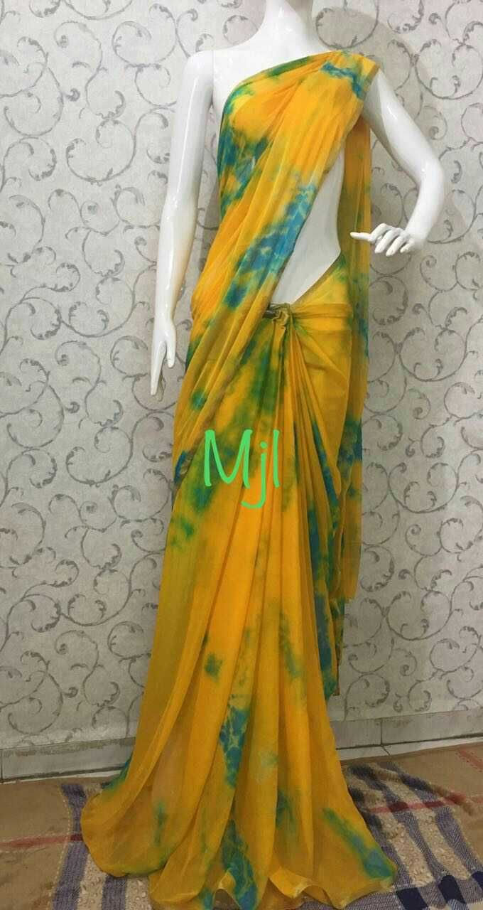 Chiffon shibori sarees with jari border 5.5mtr, without blouse