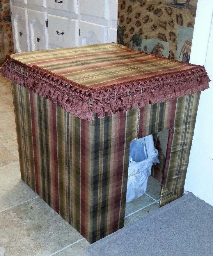 DIY Litter Box Cover Supplies: ·Cardboard Box--the sturdier, the better! ·Fabric (I used some old drapes and pulled the tassel trim off of the matching valances) ·Hot Glue Gun + Sticks ·Scissors ·Box Cutter ·Yardstick
