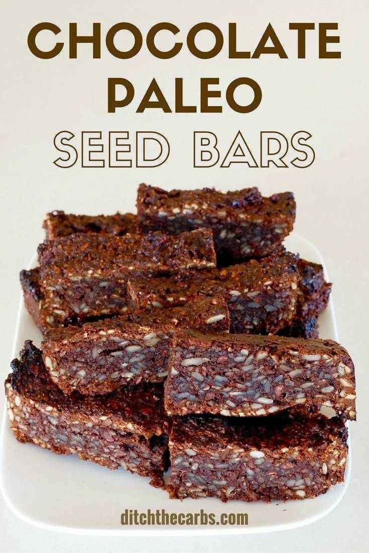 Sugar free chocolate paleo seed bars, 2g net carbs - an awesome healthy snack and perfect for school lunches. | ditchthecarbs.com via @Ditch The Carbs