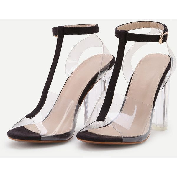 d6a0e34194e Contrast Ankle Strap Peep Toe Clear Chunky Heels (320 GTQ) ❤ liked on  Polyvore