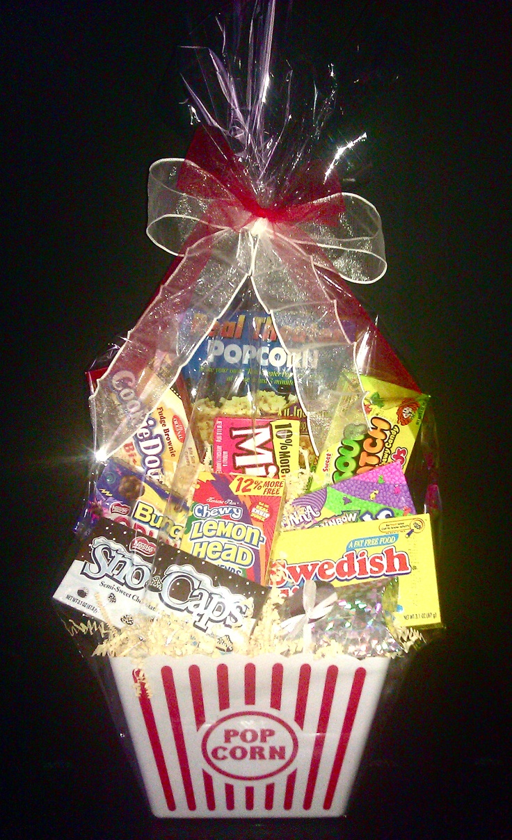 Movie Lovers Basket w/ AMC gift card by wrapped a la mode www.facebook.com/wrappedalamode