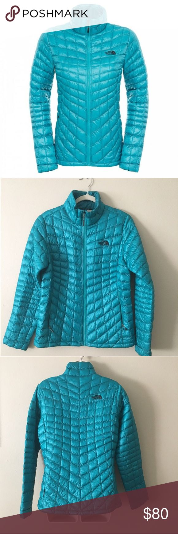 The North Face Thermoball Jacket in kokomo green Worn twice, like new condition. Size medium. Beautiful turquoise color. The North Face Jackets & Coats