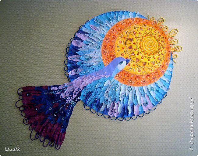 Коллективная работа Выпускной Аппликация Аппликация из скрученных жгутиков Рисование и живопись Синяя птица Бумага Бумага гофрированная фото 1