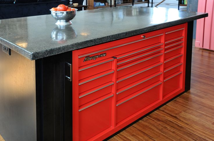 Snap On tool box drawers in island.  – Container House Ideas
