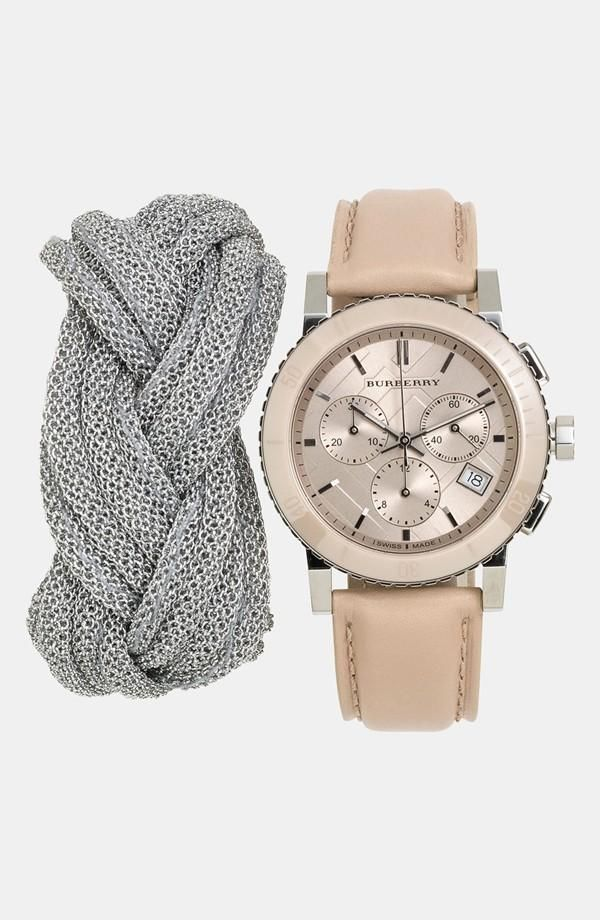 Mesh Bracelet + Burberry Watch