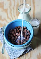 Nutella Breakfast Cereal - A Beautiful Mess  Use homemade Nutella, favorite egg substitute and nut milk for vegan