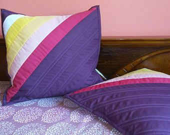 purple striped quilted pillowcase